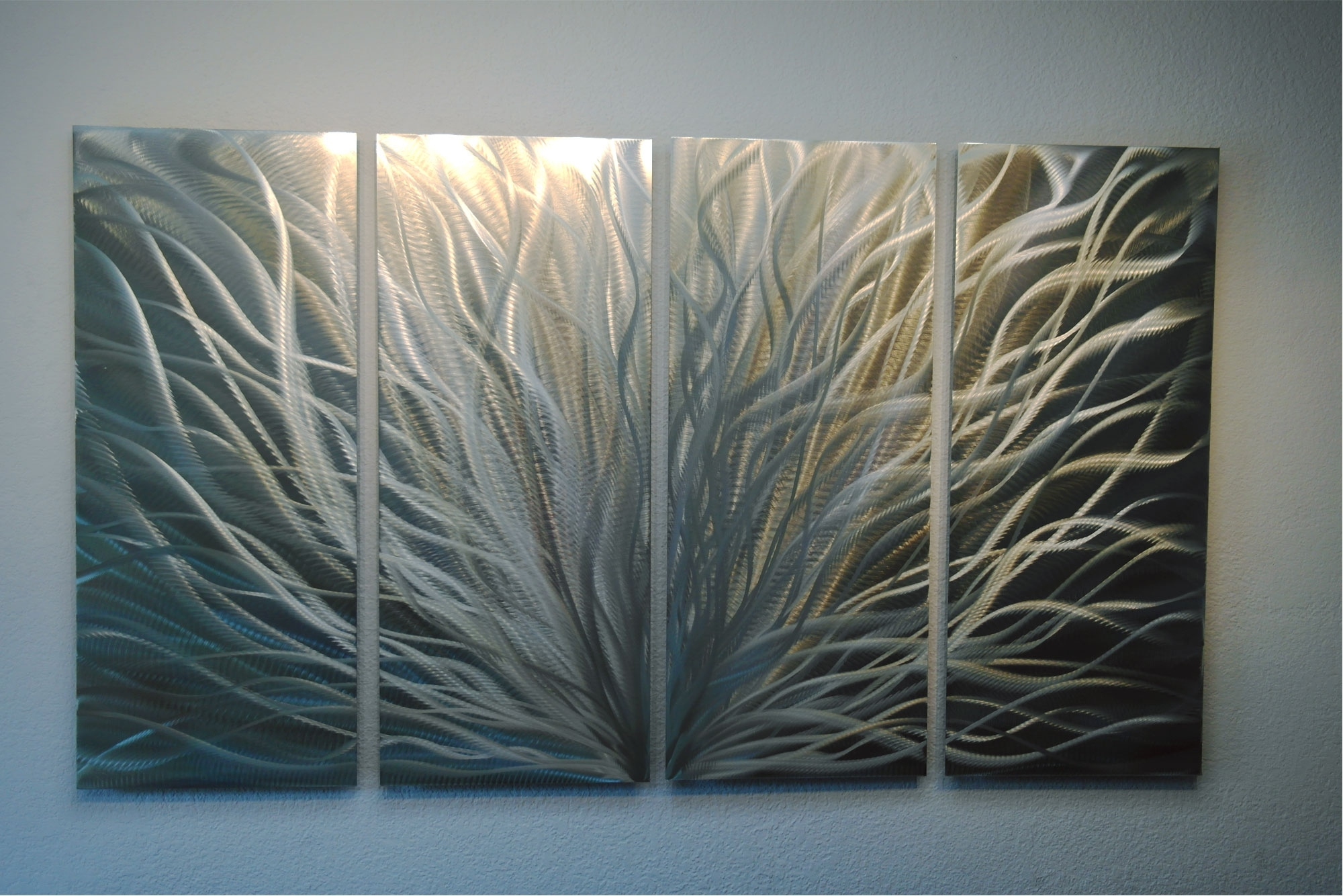 Silver And Gold Wall Art Regarding 2018 Radiance Silver And Gold 36X63 – Abstract Metal Wall Art (View 9 of 15)