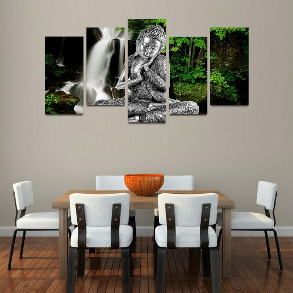 Silver Buddha Wall Art Intended For 2017 Original Oil Ink Canvas Print Silver Buddha And Waterfall Painting (View 11 of 15)