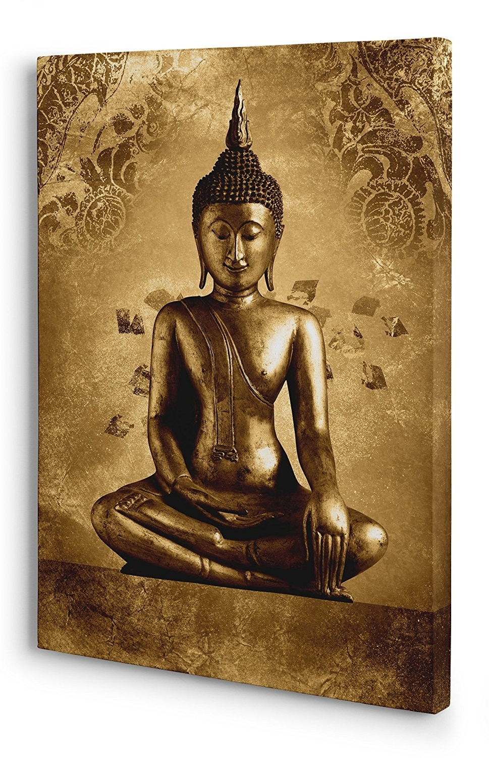 Silver Buddha Wall Art Regarding 2017 Buddha Canvas Wall Art Picture A2 (41Cm X 61Cm) Golden Brown (View 12 of 15)