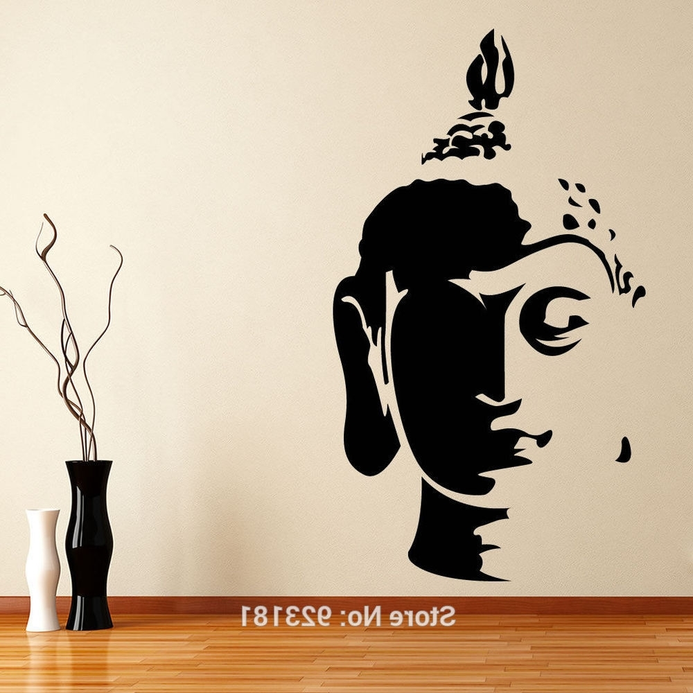 Silver Buddha Wall Art With Regard To Most Current Hot Buddha Head Wall Art Sticker Decal Home Diy Decoration Wall (View 13 of 15)