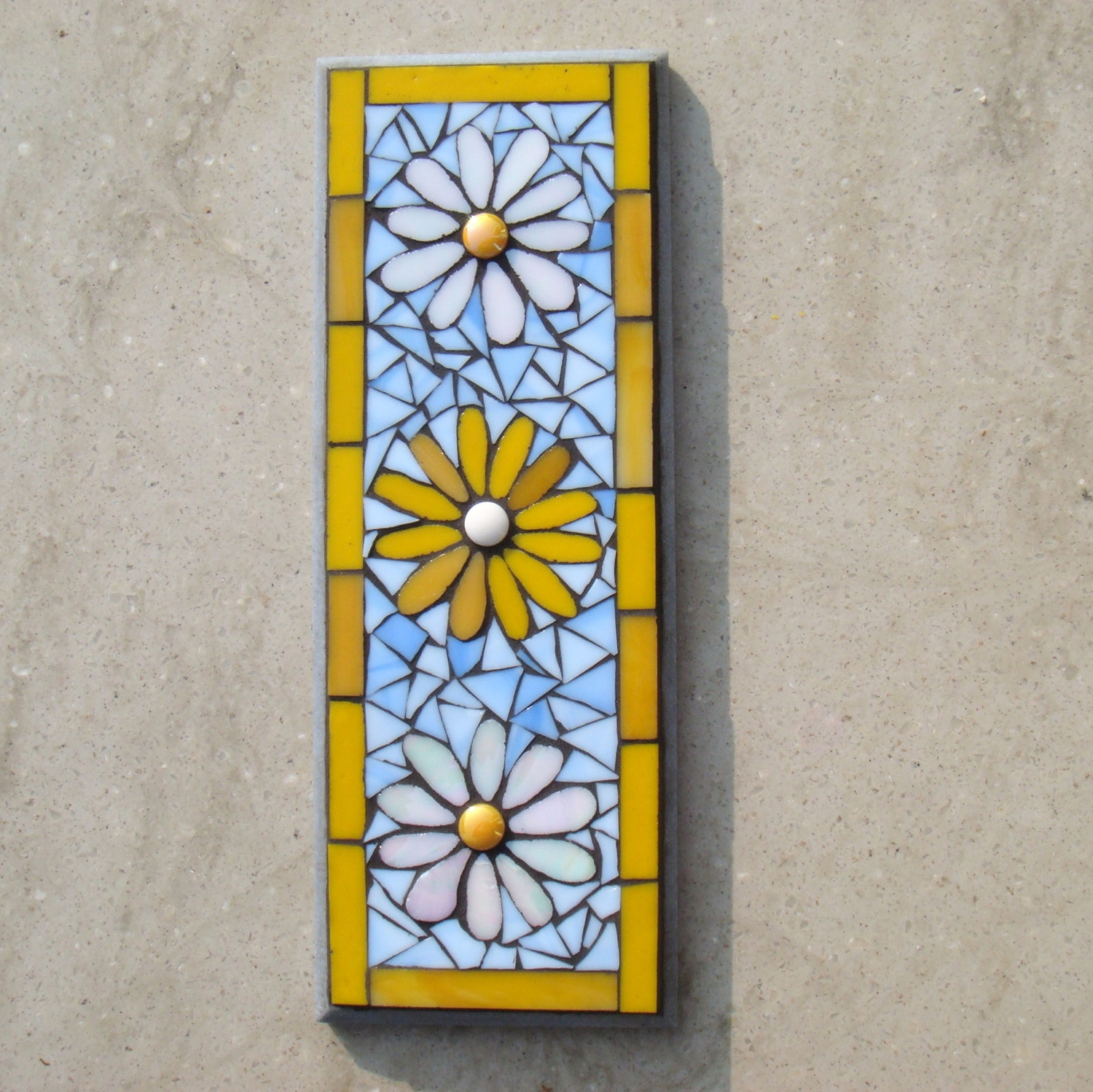 Simple Mosaic Flower Pattern Wall Plaque With White And Yellow Inside Most Recent Italian Mosaic Wall Art (View 13 of 15)