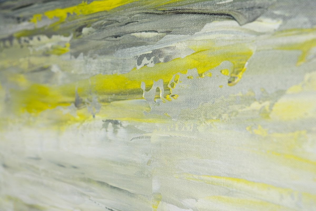 "Sky And Seaqiqigallery 36"" X 12"" Abstract Art Yellow Grey For Trendy Yellow And Grey Abstract Wall Art (View 15 of 15)"