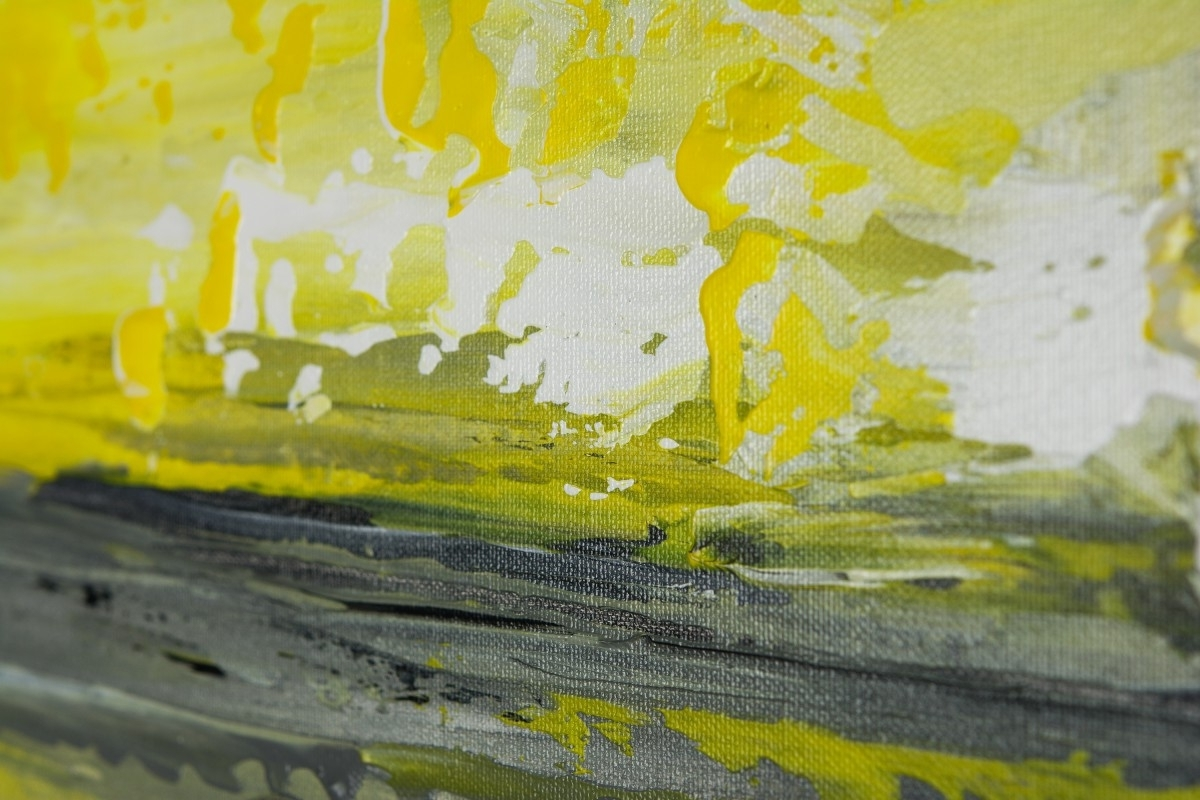 "Sky And Seaqiqigallery 36"" X 12"" Abstract Art Yellow Grey Regarding Well Known Yellow And Green Wall Art (View 10 of 15)"