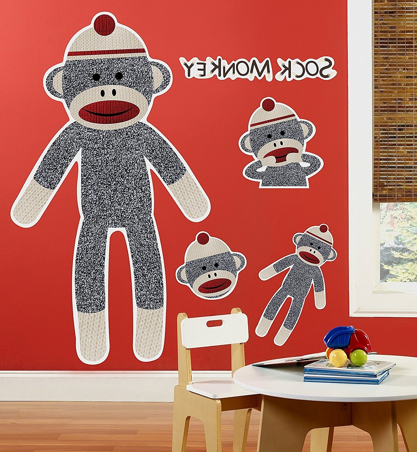 Sock Monkey Wall Art With Regard To Fashionable Sock Monkey Room Decor – Giant Wall Decals – Childrens Wall Decor (View 9 of 15)