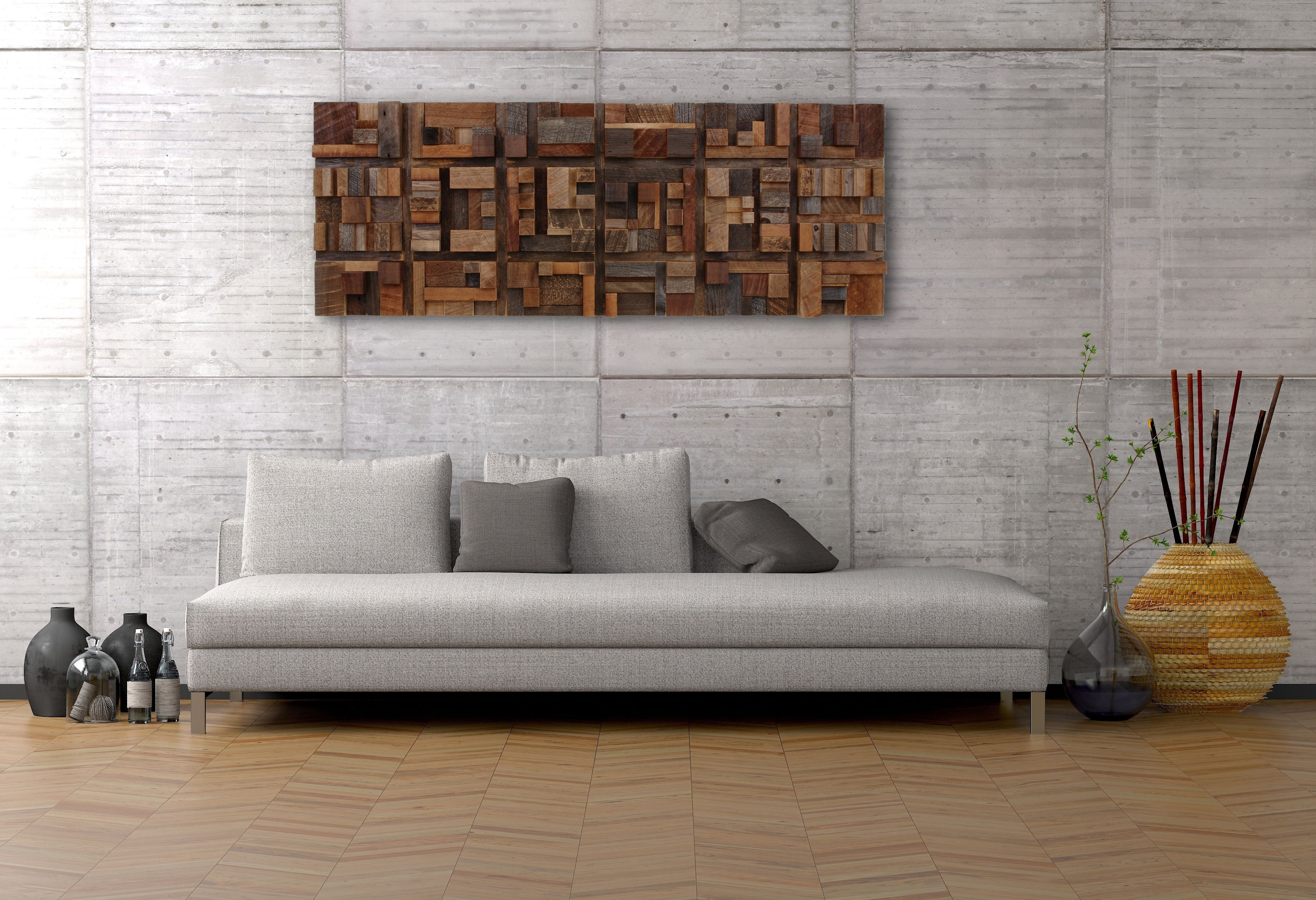 Sofa Size Wall Art With Latest Handmade Wood Wall Art Of Geometric Shapes Reclaimed Barnwood & Explore Photos of Sofa Size Wall Art (Showing 6 of 15 Photos)