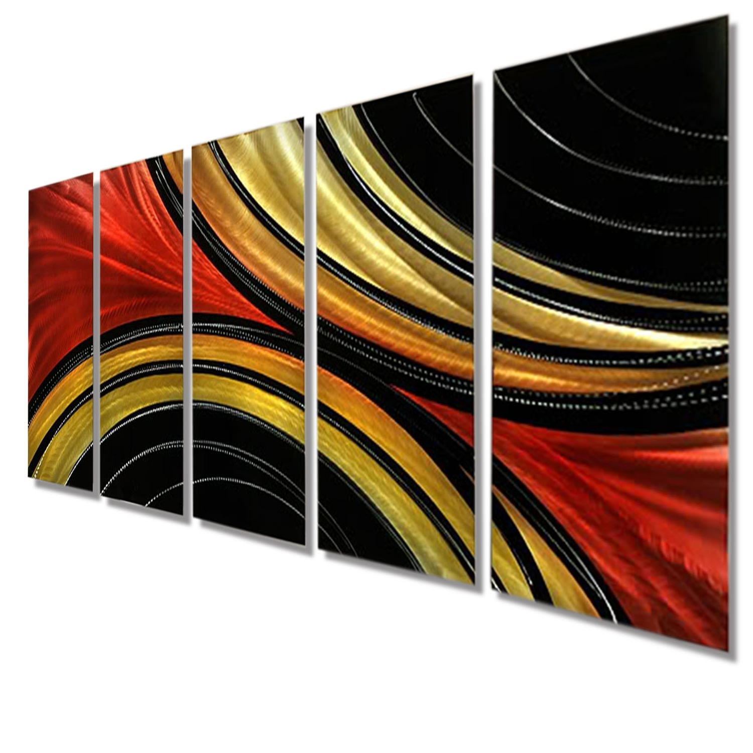 Solaris Xl – Massive Metal Abstract Red Black Gold Painting Wall In Most Up To Date Black And Gold Abstract Wall Art (View 12 of 15)