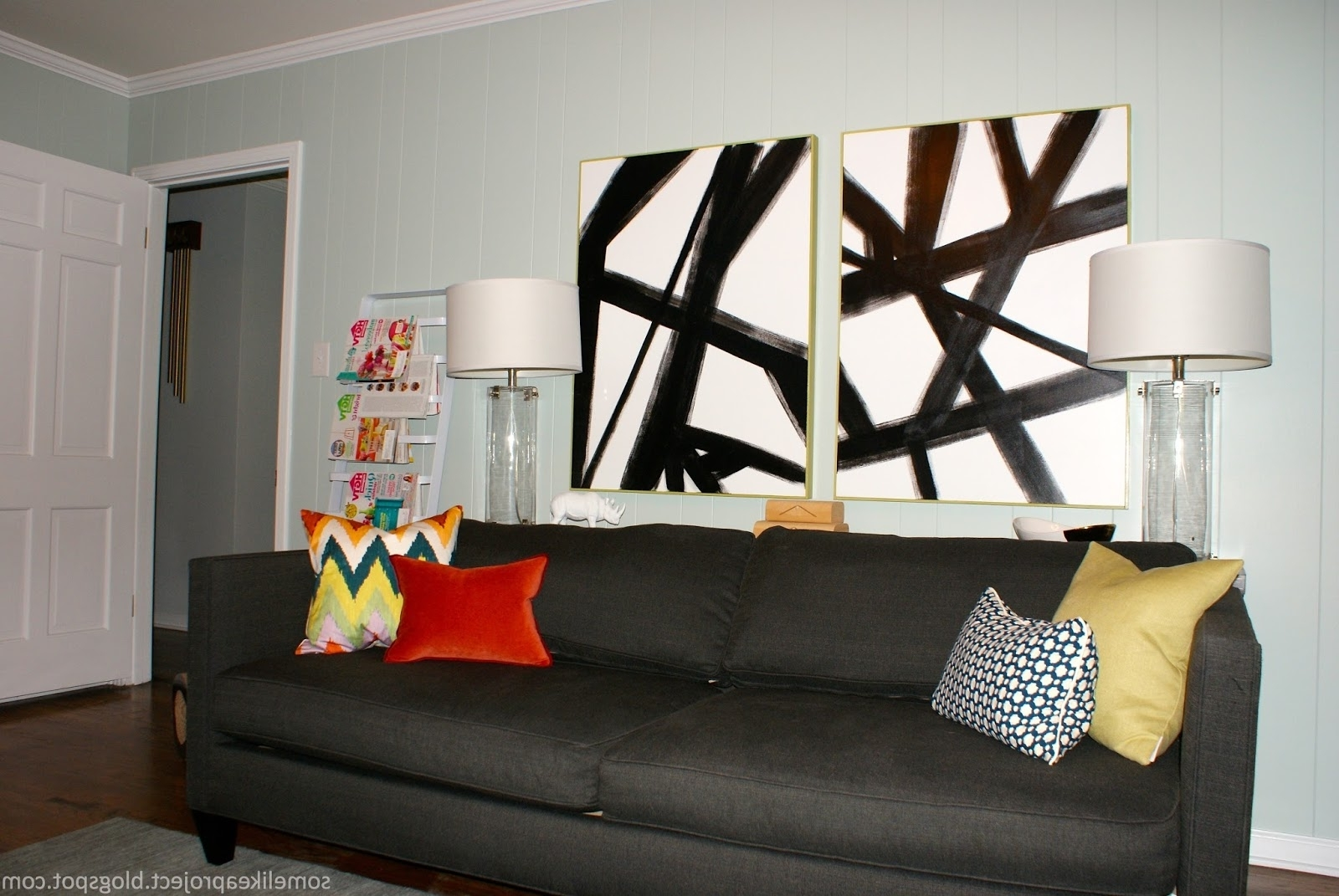 Some Like A Project: Large Diy Black U0026 White Abstract Art For Well Known  West. Previous Photo West Elm Abstract Wall Art