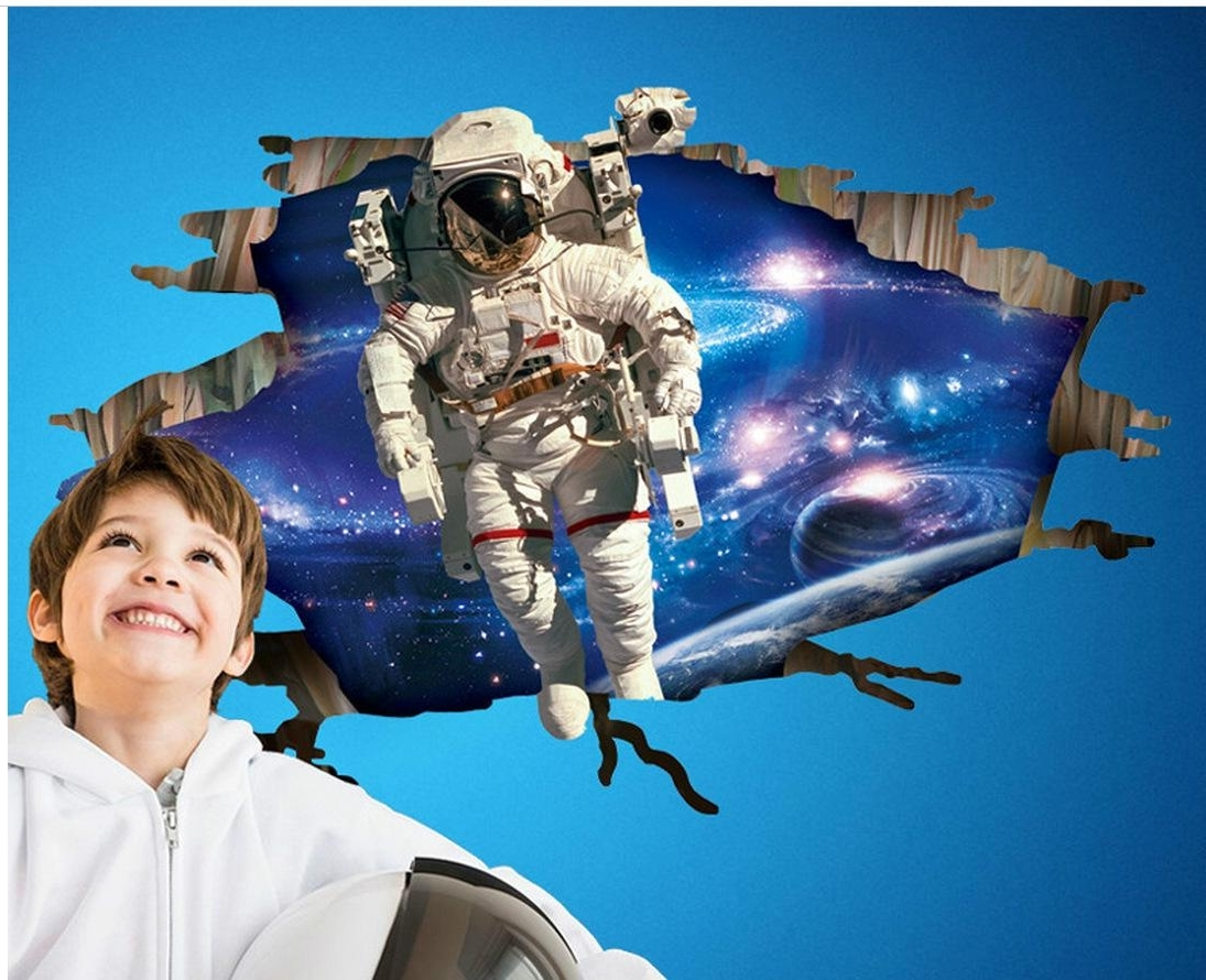 Space 3D Vinyl Wall Art Pertaining To Well Known 3D Astronaut Came Through Outer Space Wall Art Mural Decal Sticker (View 15 of 15)