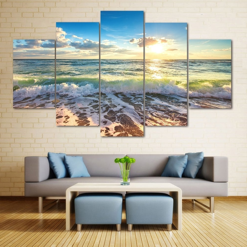 Split Wall Art Throughout Most Recently Released 2018 Wall Art Sea Beach Scenery Print Split Canvas Paintings (View 14 of 15)