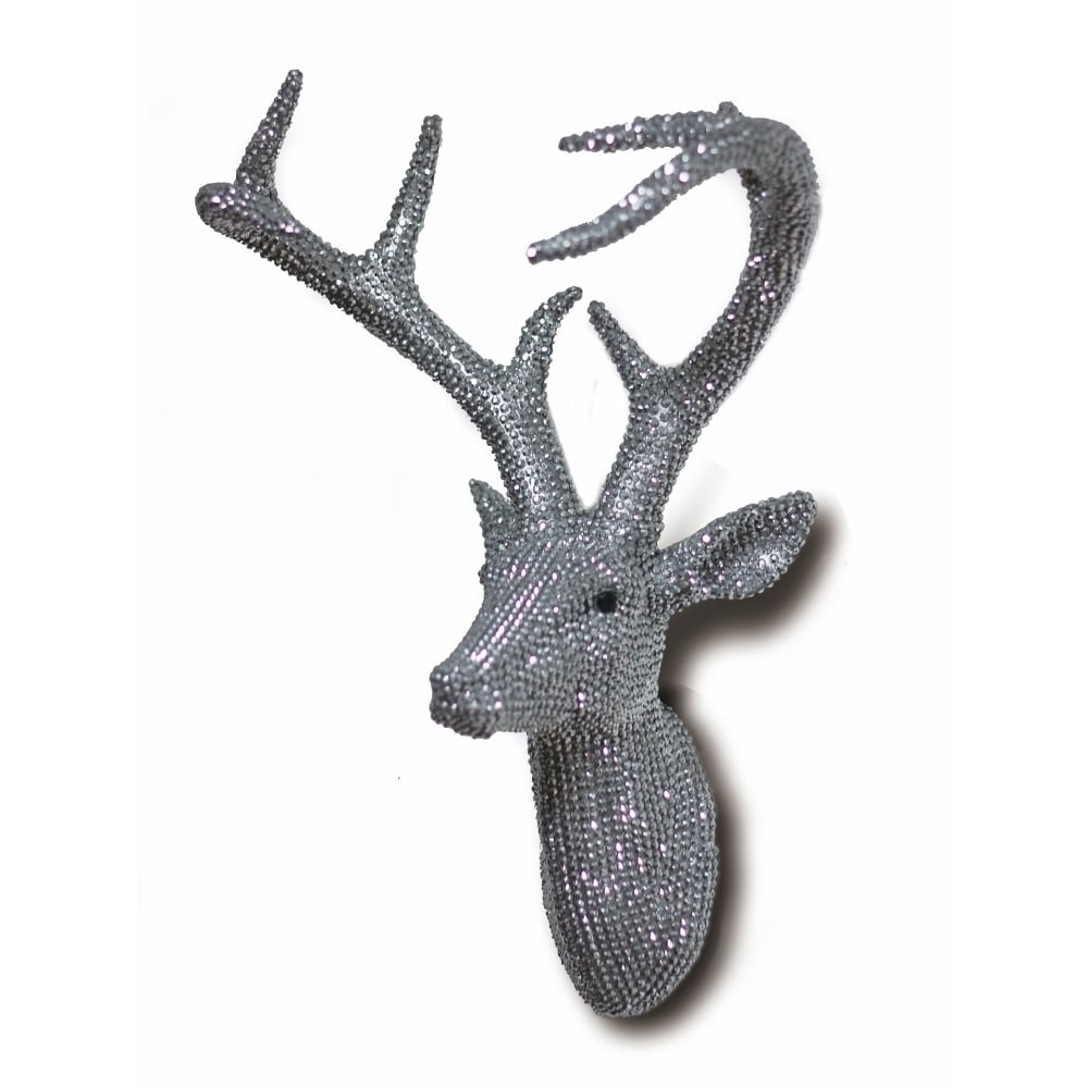 Stags Head Wall Art Regarding Best And Newest Diamante Diamond Wall Mounted Deer Stag Head 3d Resin Wall Art (View 2 of 15)