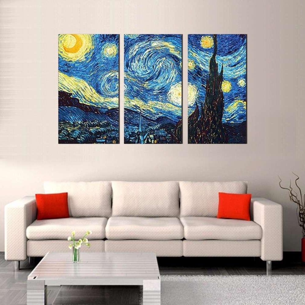 Starry Night – Vincent Van Gogh Multi Panel Canvas Wall Art With Recent Vincent Van Gogh Wall Art (Gallery 9 of 15)