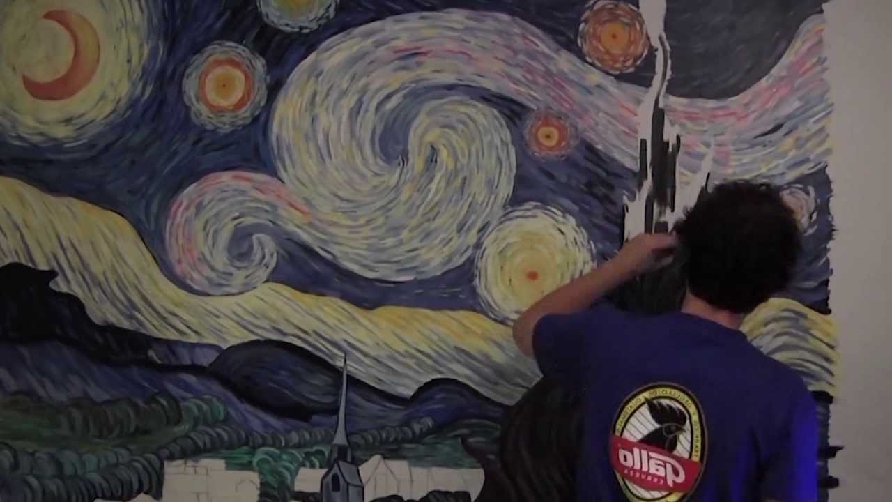 Starry Nightvincent Van Gogh  Mural Painting  (Timelapse Art In 2018 Vincent Van Gogh Wall Art (View 7 of 15)