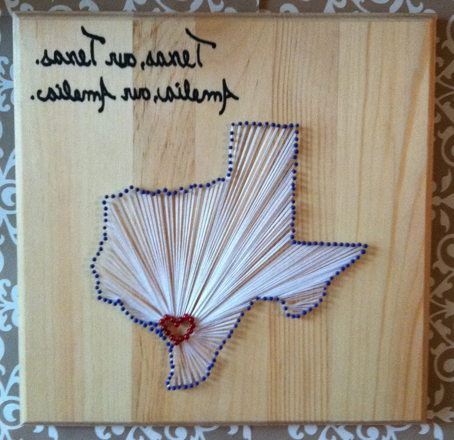 State Outline, Outlines In Nail And Yarn Wall Art (View 15 of 15)