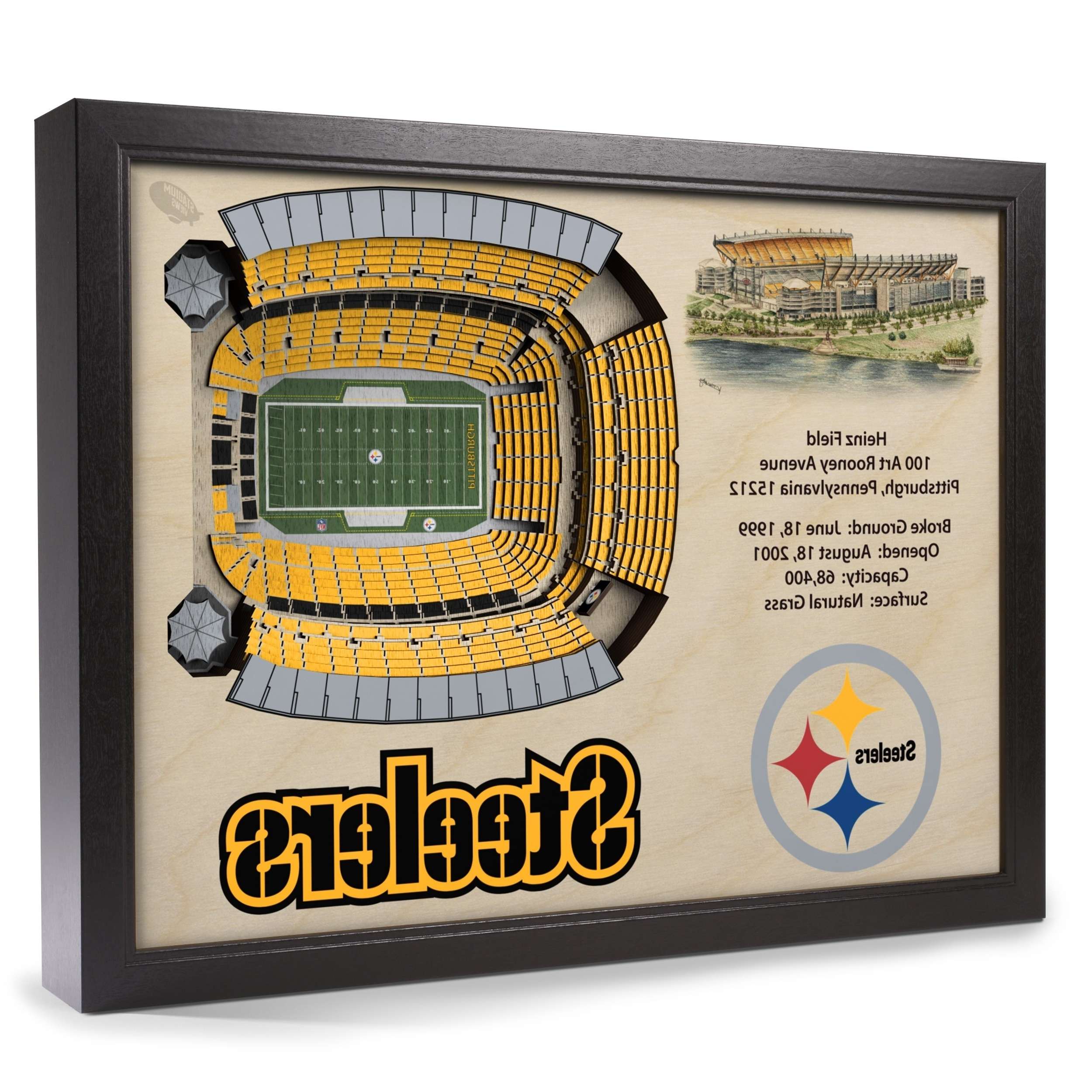 Steelers Wall Art Within 2017 Pittsburgh Steelers Stadiumview Wall Art – Heinz Field 3 D (View 12 of 15)