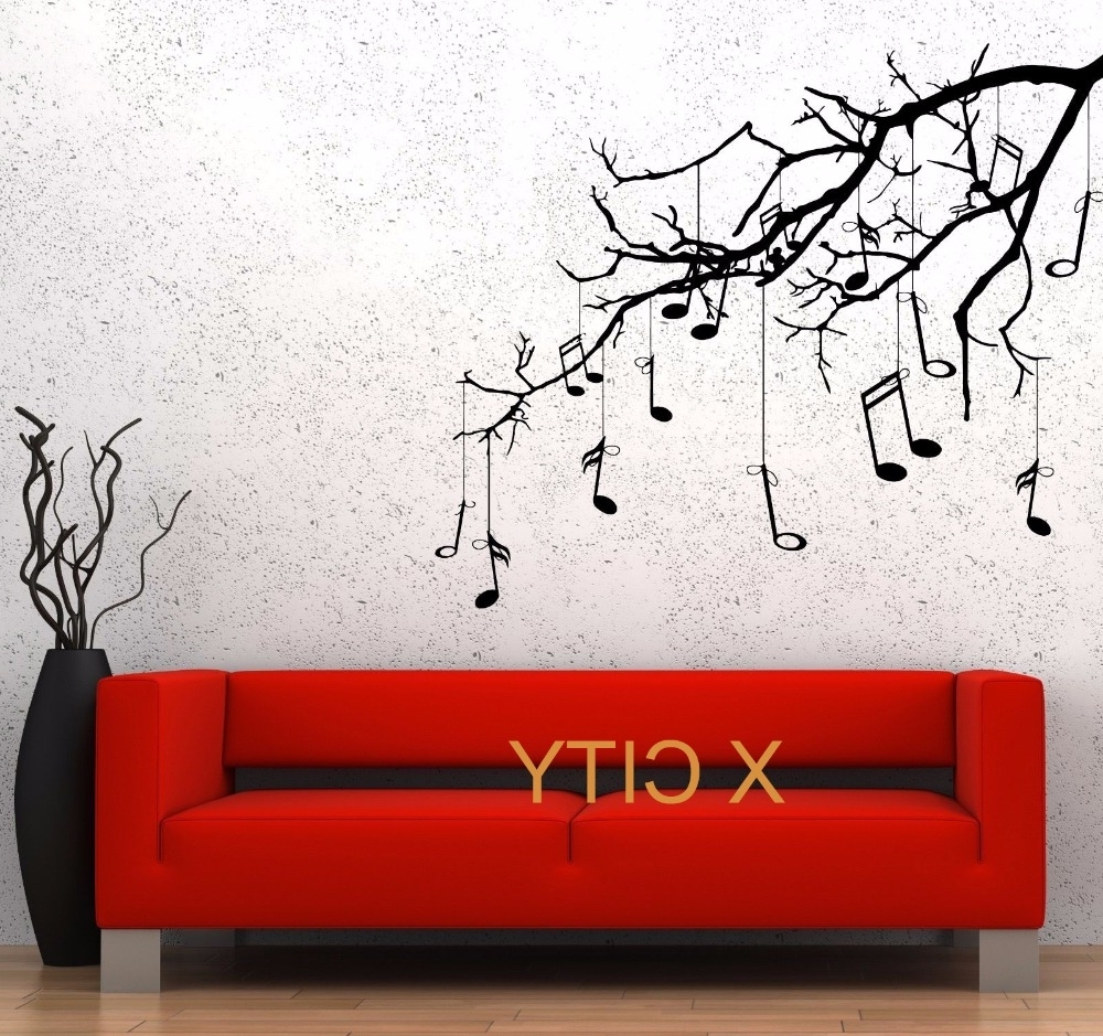 Stencil Wall Art For Well Liked Music Tree Branch Notes Cool Creative Black Wall Art Decal Sticker (View 10 of 15)
