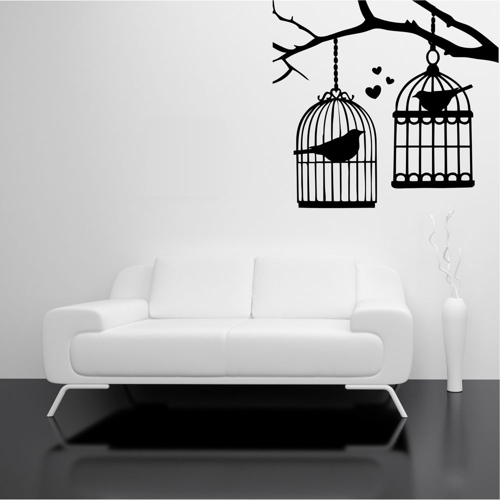 Stencil Wall Art Throughout Most Popular Bird Cage Branch Tree Birds Love Wall Art Stickers Decal Mural (View 13 of 15)
