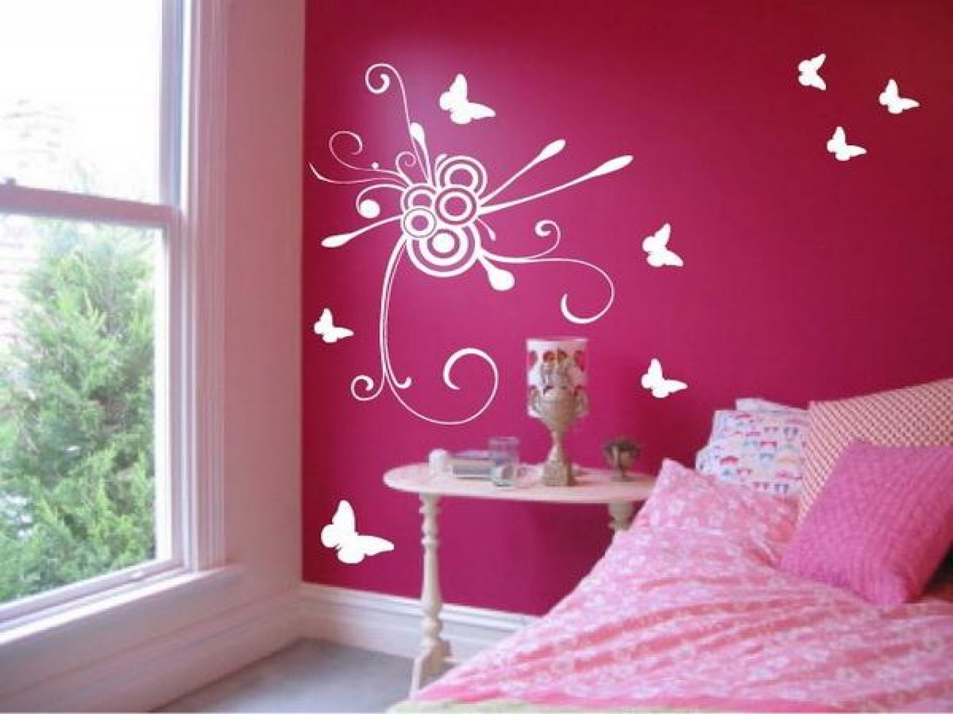 Steps To A Girly Adult Bedroom Shoproomideas Pink Feminine Walls Regarding Best And Newest Pink And White Wall Art (Gallery 9 of 15)