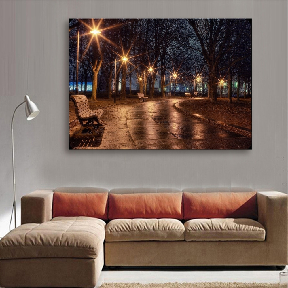 Stretched Canvas Prints Street Lights Led Flashing Optical Fiber With Regard To Newest Fiber Optic Wall Art (View 10 of 15)