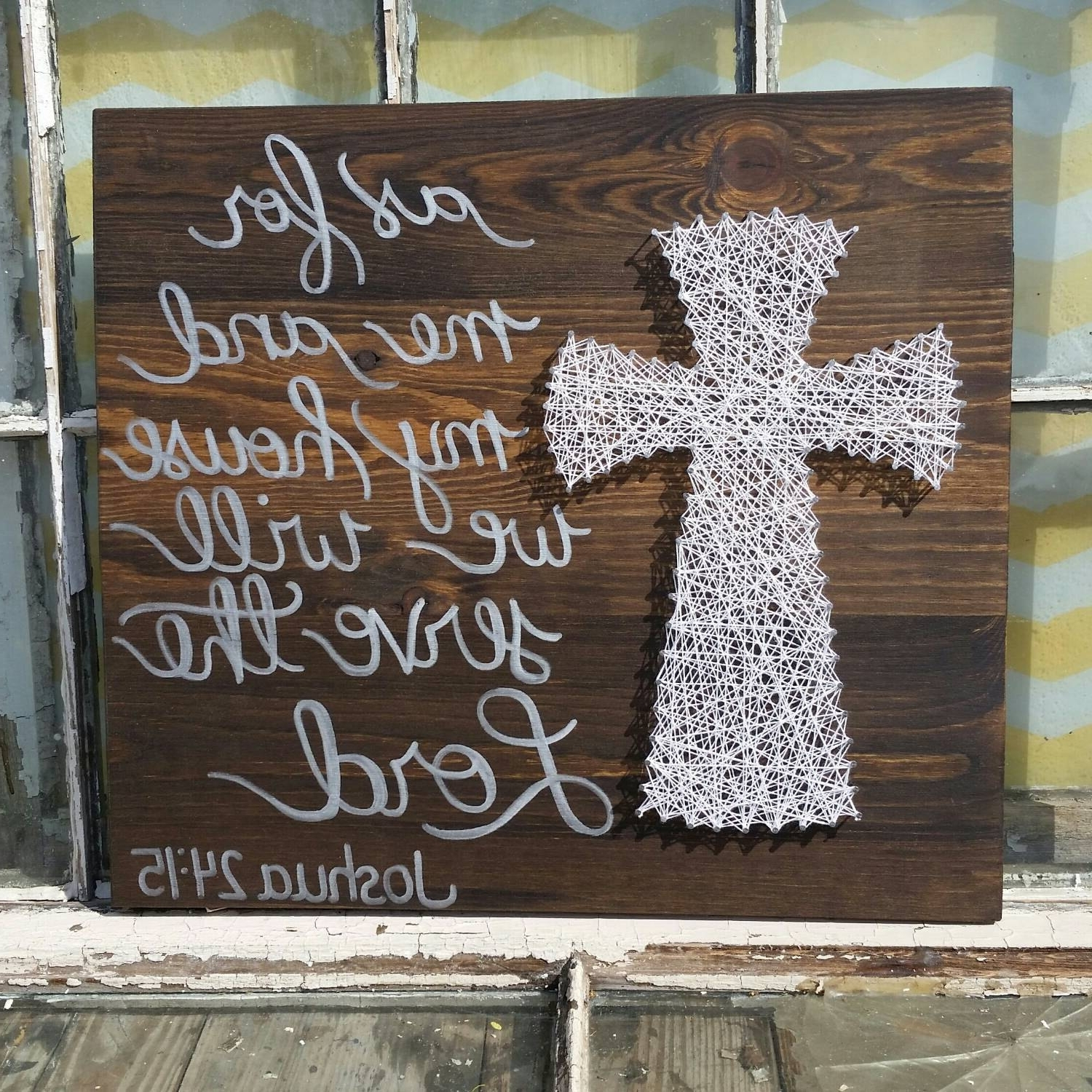 "String Art Cross – ""as For Me And My House We Will Serve The Lord Regarding Well Known Large Christian Wall Art (View 14 of 15)"
