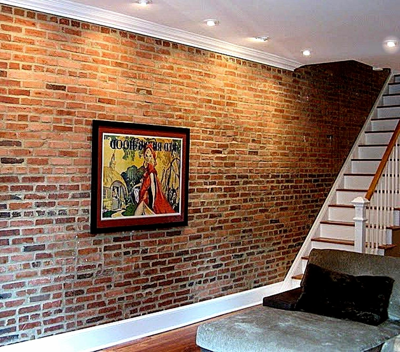 Stylish Basement Cave Man Decors Ideas With Artwork Picture Hang Regarding Most Recent Hanging Wall Art For Brick Wall (View 7 of 15)