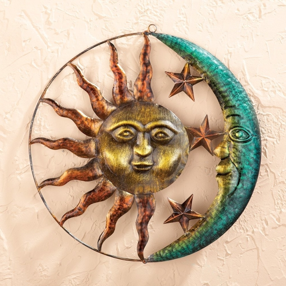 Sun And Moon Metal Wall Art For Best And Newest Amazon : Artistic Sun And Moon Metal Wall Art For Indoor Or (View 8 of 15)