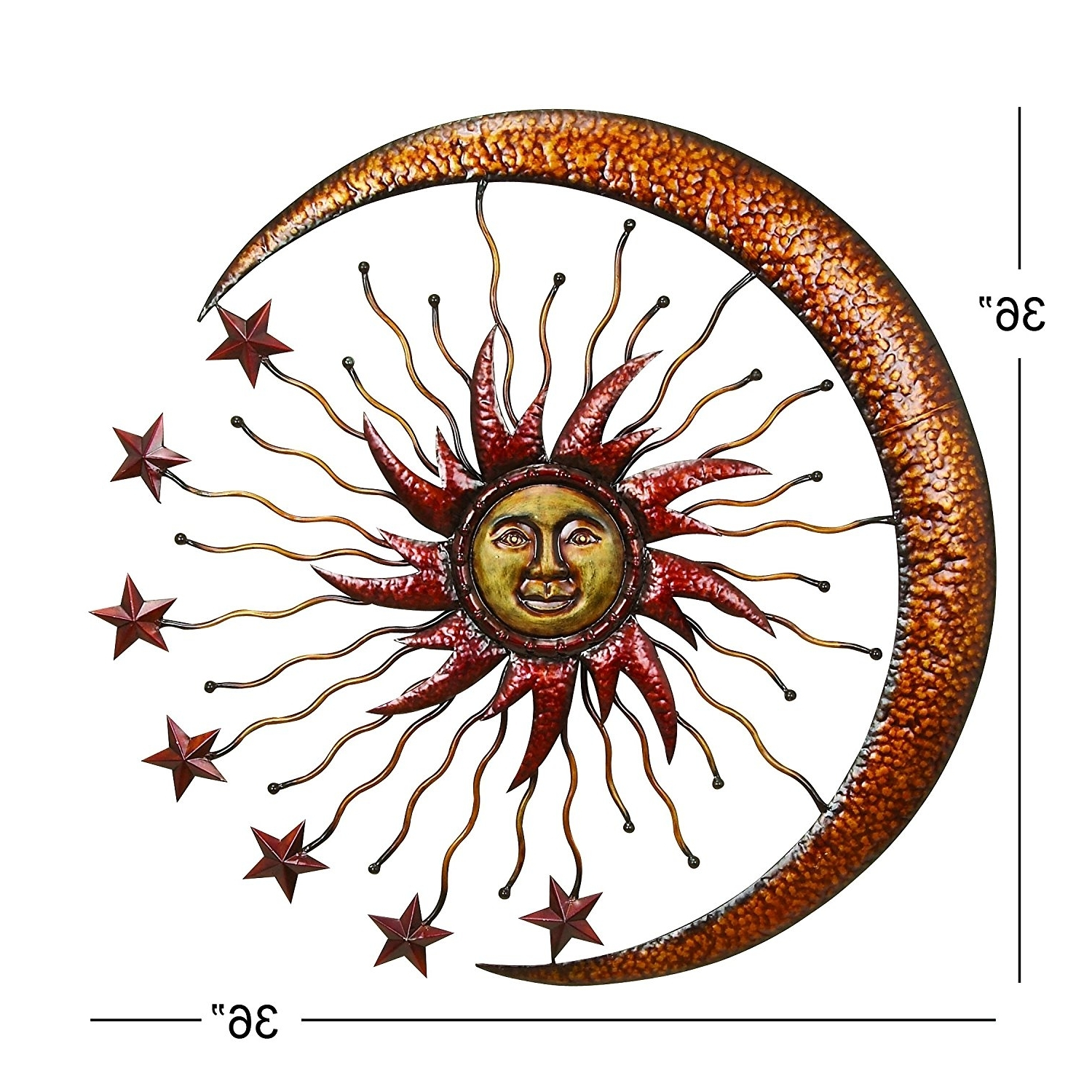 """Sun And Moon Metal Wall Art Within Newest Amazon: Deco 79 42770 Metal Sun Moon Wall Decor, 36"""": Home (View 6 of 15)"""