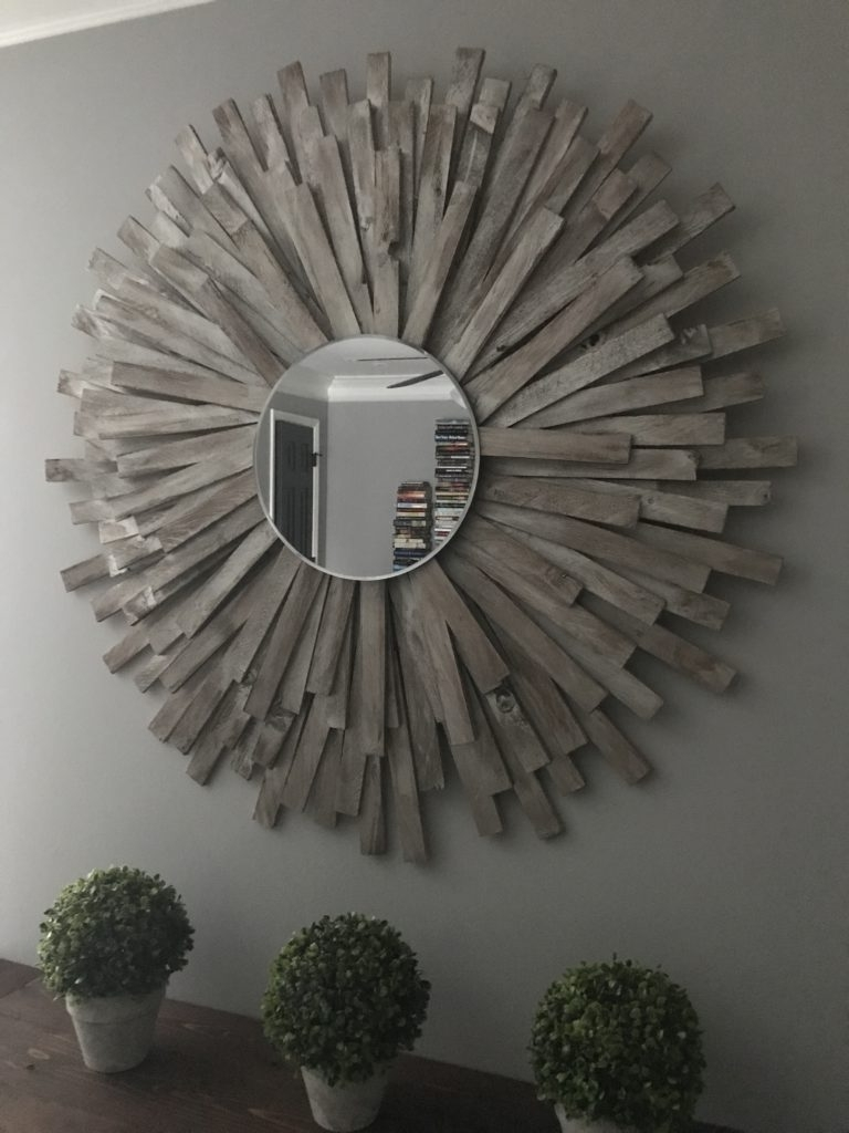 Sunburst Mirror Diy Cheap And Creative Wall Art With Wood Shims For Well Known Diy Mirror Wall Art (View 12 of 15)