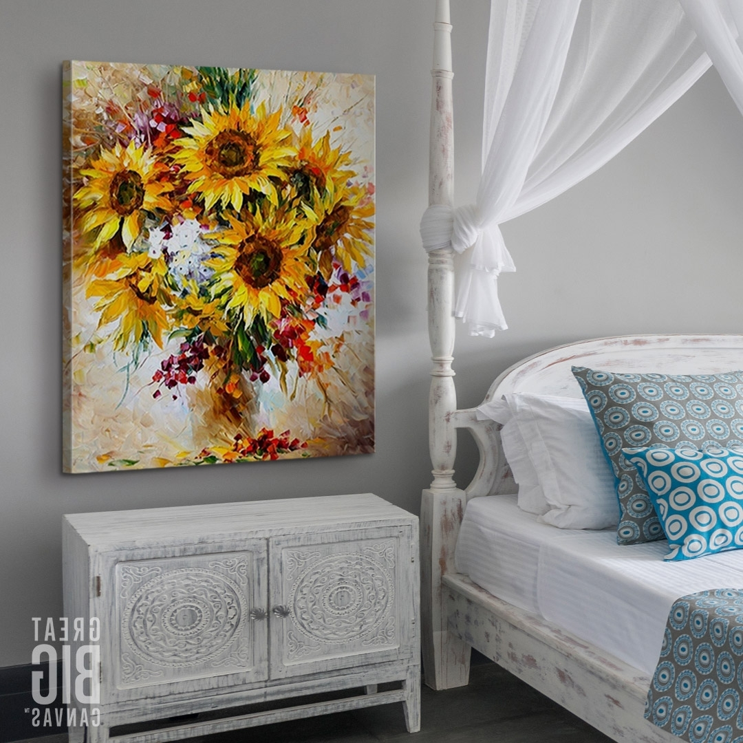 Sunflowers, Happiness And Canvases Pertaining To Best And Newest Happiness Abstract Wall Art (View 12 of 15)