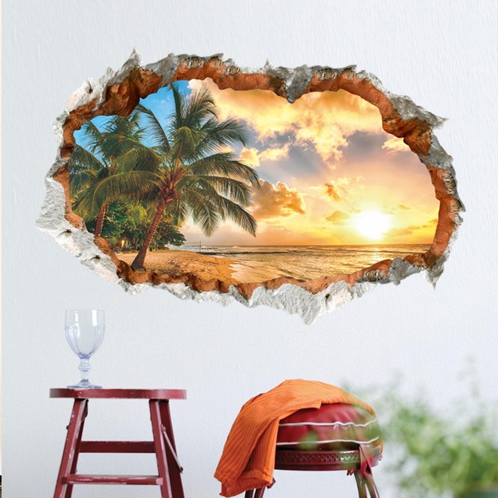 Sunshine Beach Sea Sun Tree Resort 3d Window View Vinyl Wall Throughout 2017 Beach 3d Wall Art (View 15 of 15)