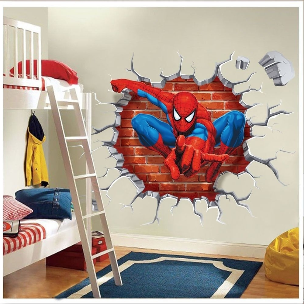 Super Hero Spider Man Wall Sticker Decals Kids Baby Nursery Room Regarding Recent Superhero Wall Art For Kids (View 8 of 15)