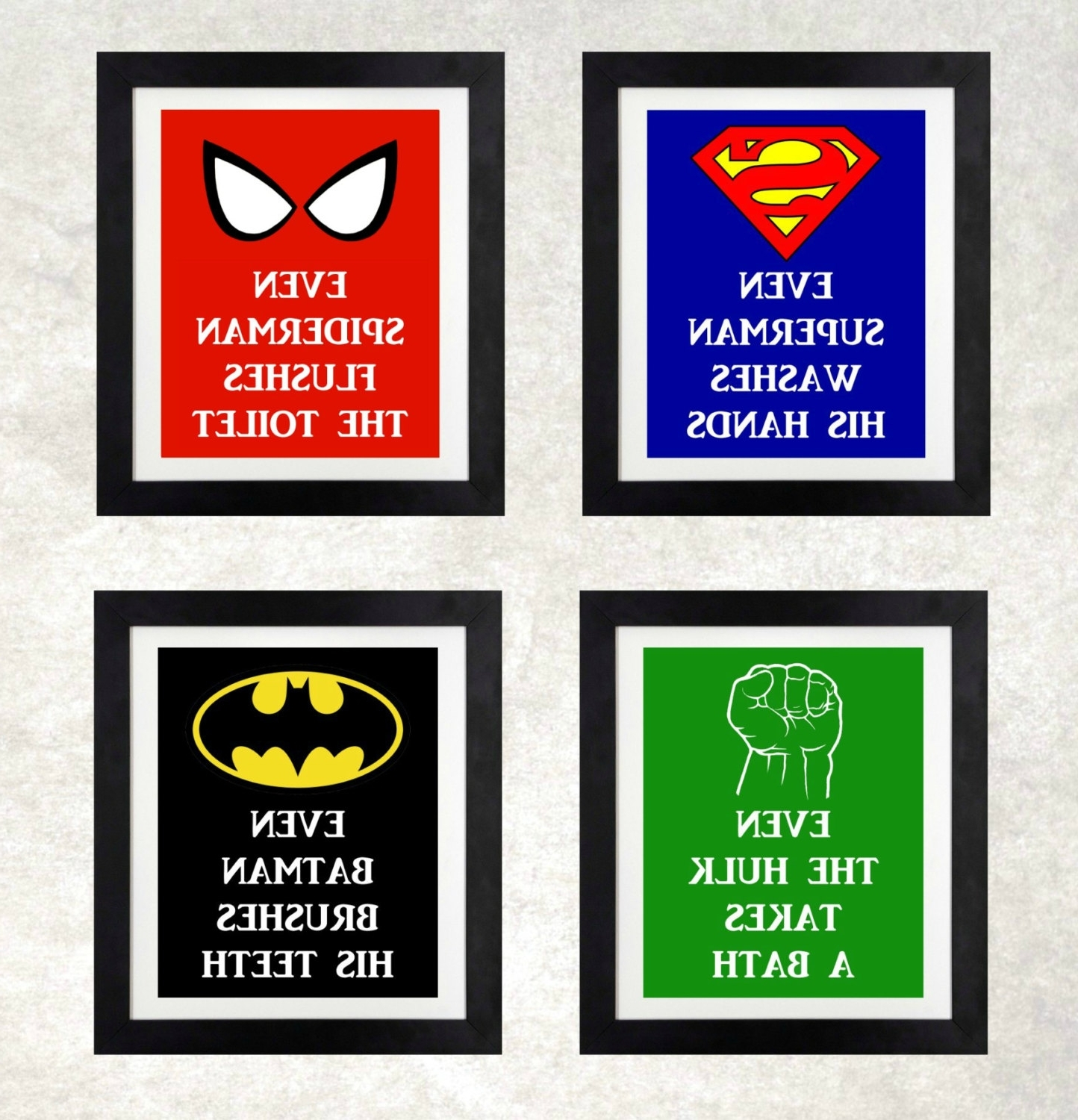 Superhero Wall Art For Kids With Most Current Superhero Bathroom // Boys Bathroom Wall Art //nothingpanda (View 14 of 15)