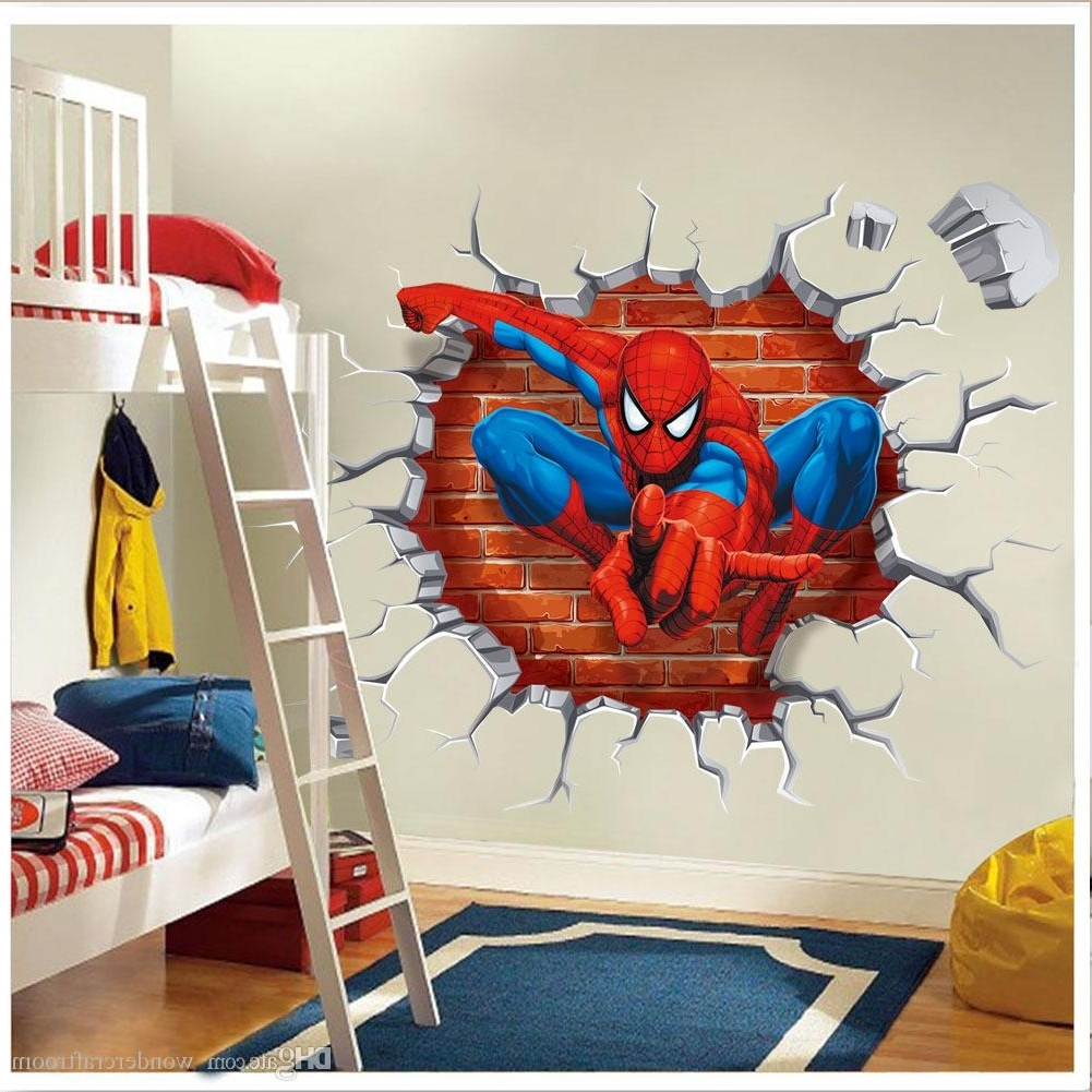Superhero Wall Art Stickers Inside Widely Used Super Hero Spider Man Breaking Wall 3D Effect Wall Sticker Decal (Gallery 1 of 15)