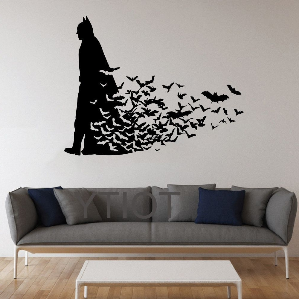 Superhero Wall Art Stickers With Most Recent Batman Wall Sticker Dark Knight Poster Movie Comics Vinyl Decal (View 14 of 15)