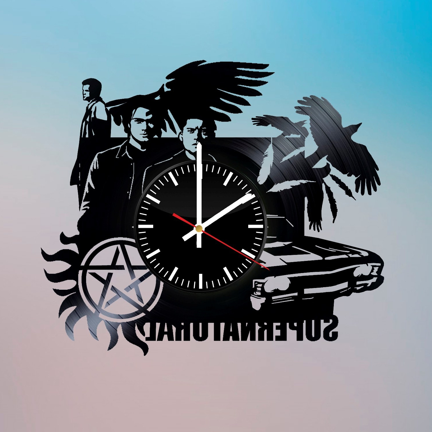 Supernatural Wall Art With Current Supernatural Zach Vessel Handmade Vinyl Record Wall Clock Fan Gift (View 12 of 15)