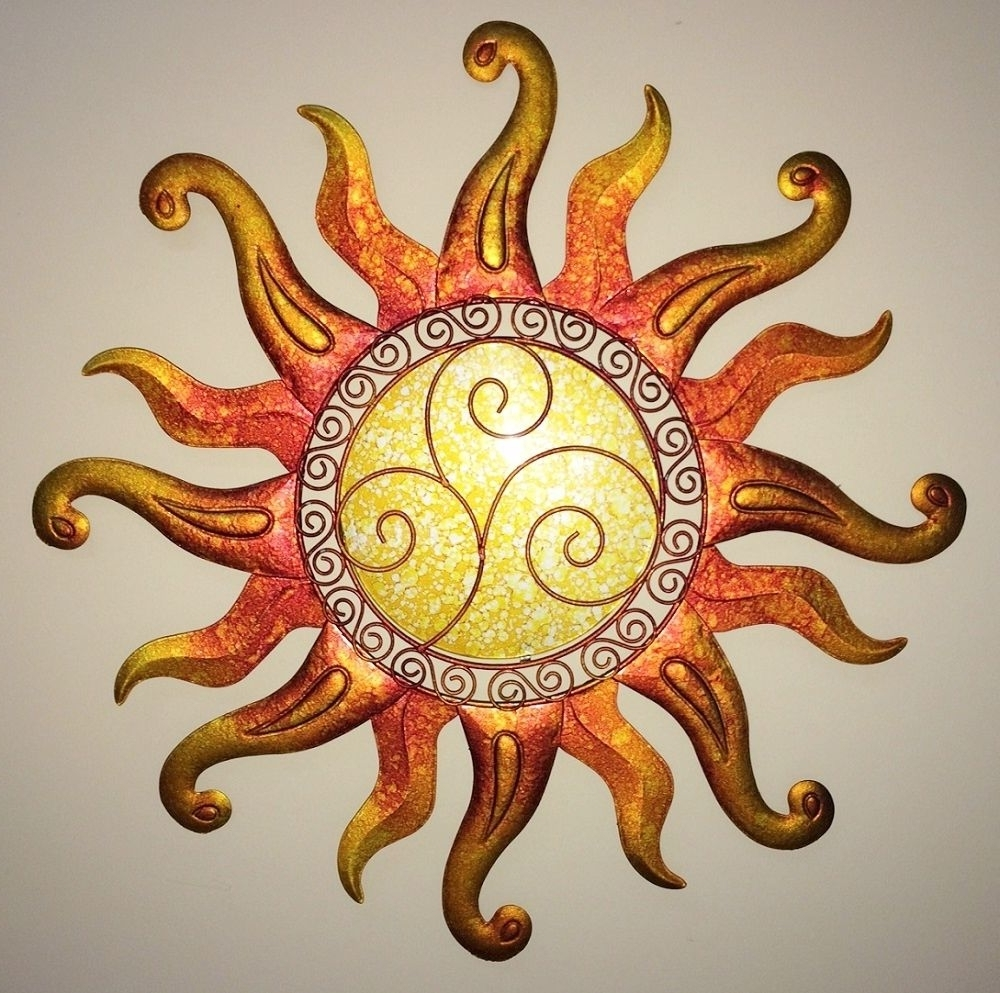 Swirl Sun Wall Art Glass & Metal Sunburst Decor Sculpture Indoor With Regard To Newest Swirl Metal Wall Art (View 6 of 15)