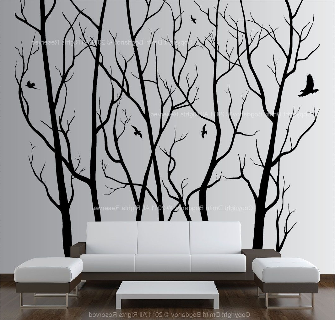 Tall Wall Art Decor With Most Current Large Wall Art Decor Vinyl Tree Forest Decal Sticker (Choose Size (View 10 of 15)