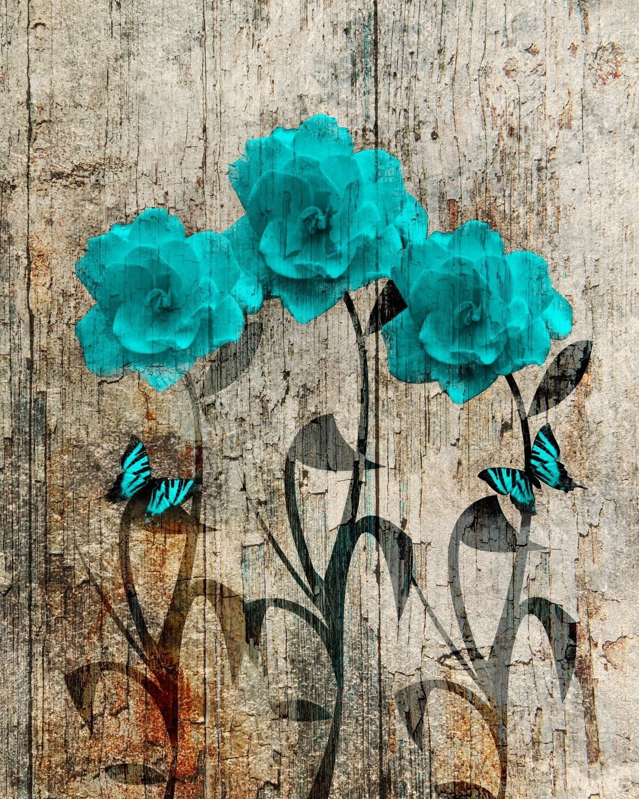 Teal And Brown Wall Art Throughout Most Recent Rustic Teal Brown Flowers Butterflies Country Home Decor Wall Art (View 13 of 15)