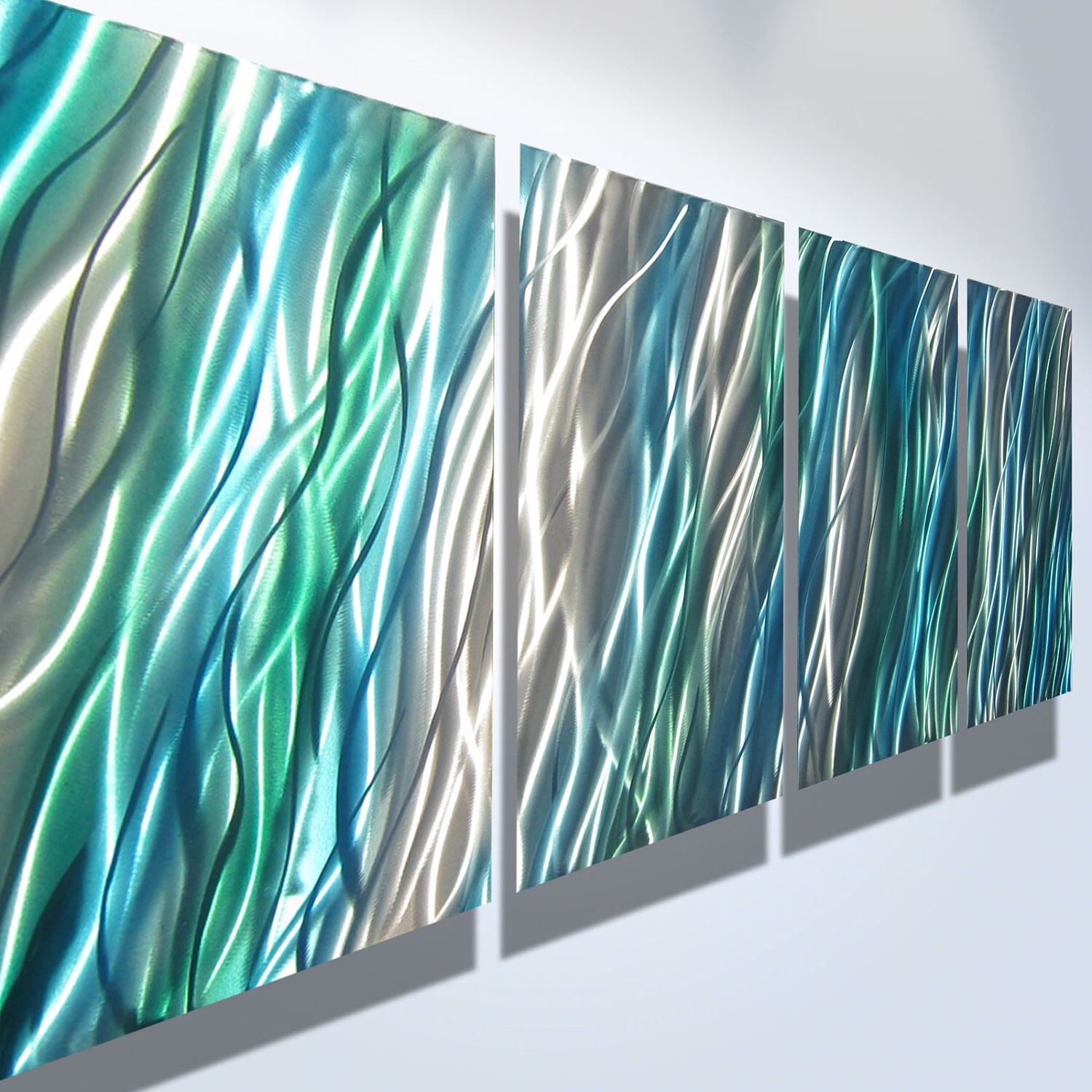 Teal And Green Wall Art Intended For Preferred Metal Wall Art Decor Abstract Contemporary Modern Sculpture (View 10 of 15)