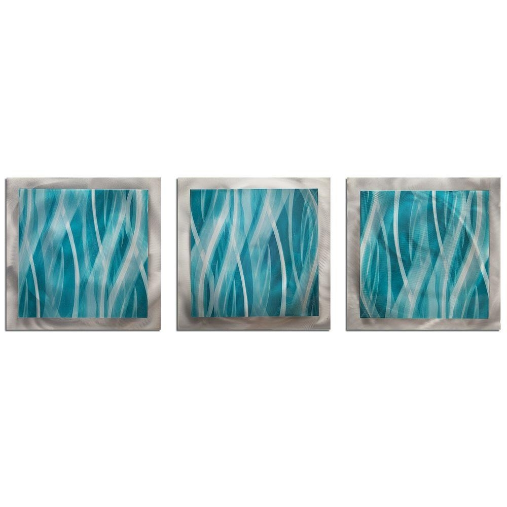 Teal And Green Wall Art Regarding 2017 Filament Design Brevium 12 In. X 38 In. Turquoise Essence Metal (Gallery 6 of 15)