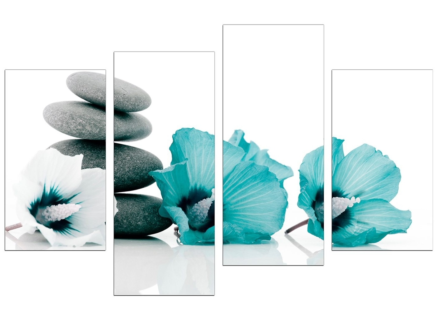 Teal Flower Canvas Wall Art Inside Famous Large Wall Art Teal Home Decor Canvas Art Print Abstract (View 12 of 15)