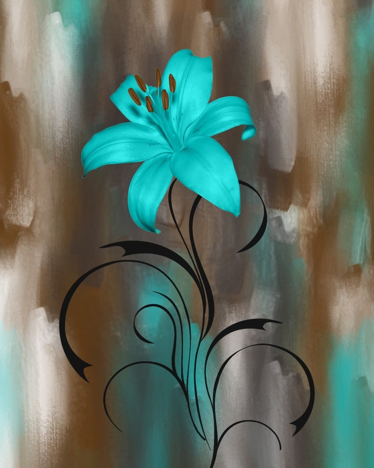 Teal Flower Canvas Wall Art With Regard To Famous Teal Brown Wall Pictures, Lily Flower, Modern Teal Home Decor Wall (View 13 of 15)