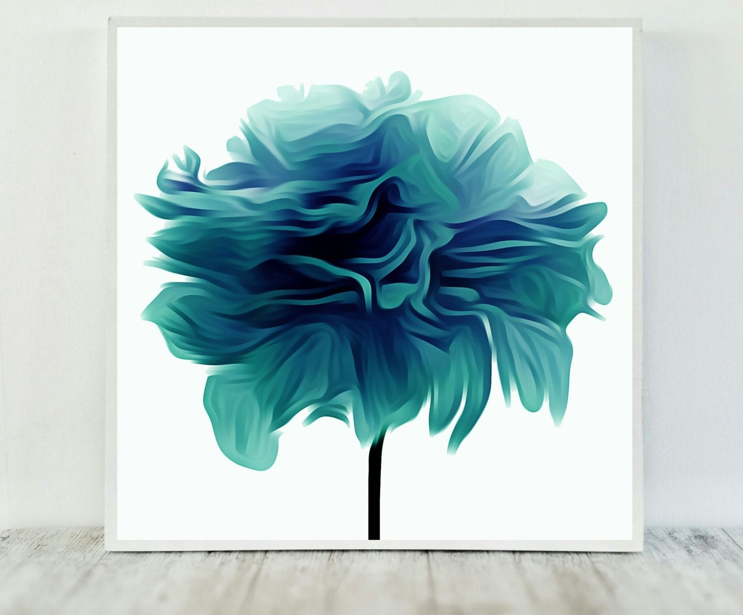 Teal Flower Print, Abstract Teal Print, Flower Print Teal With Regard To Trendy Printable Abstract Wall Art (View 15 of 15)