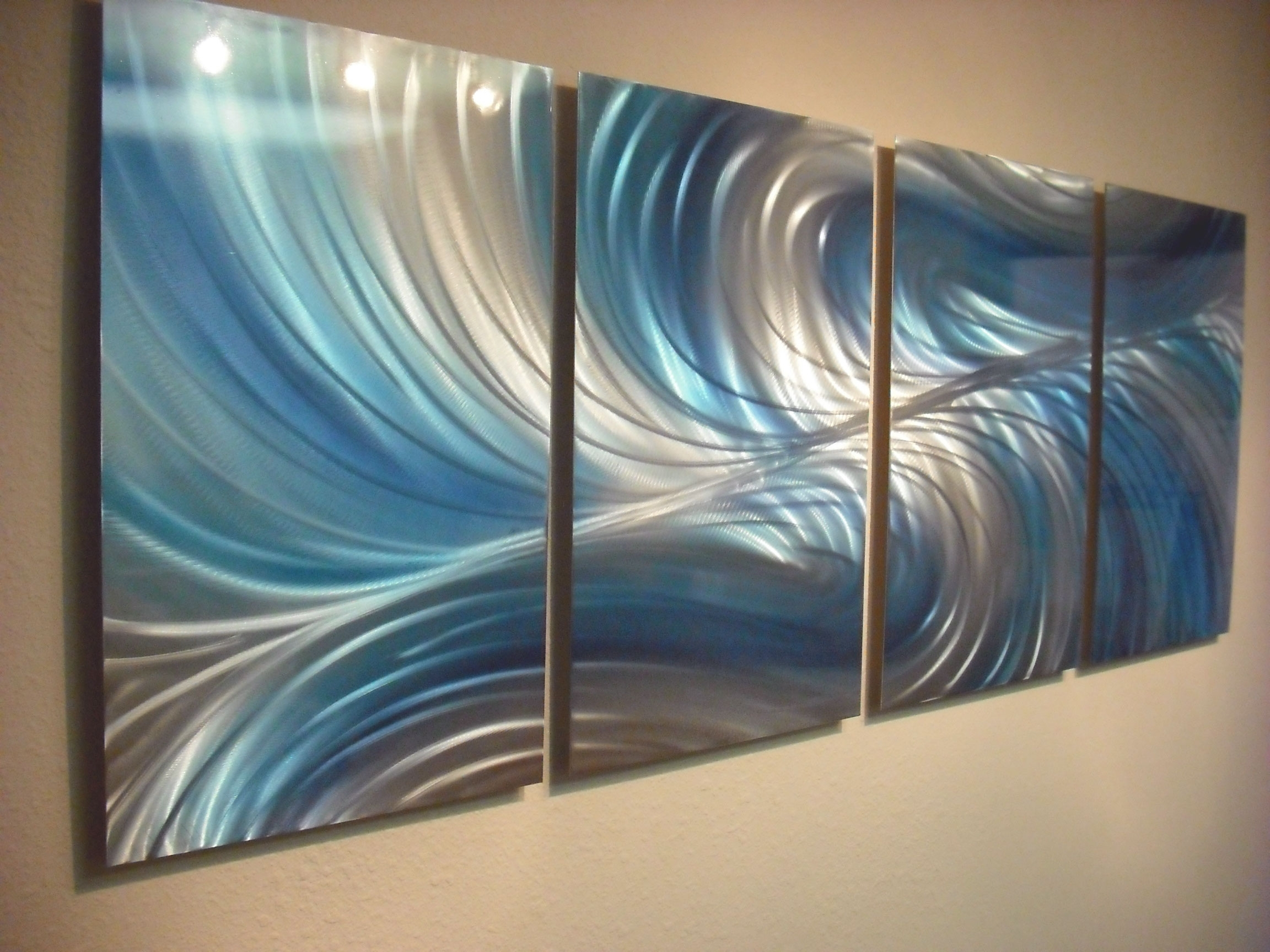 Teal Metal Wall Art Intended For Well Liked Echo 3 Blues – Abstract Metal Wall Art Contemporary Modern Decor (View 12 of 15)