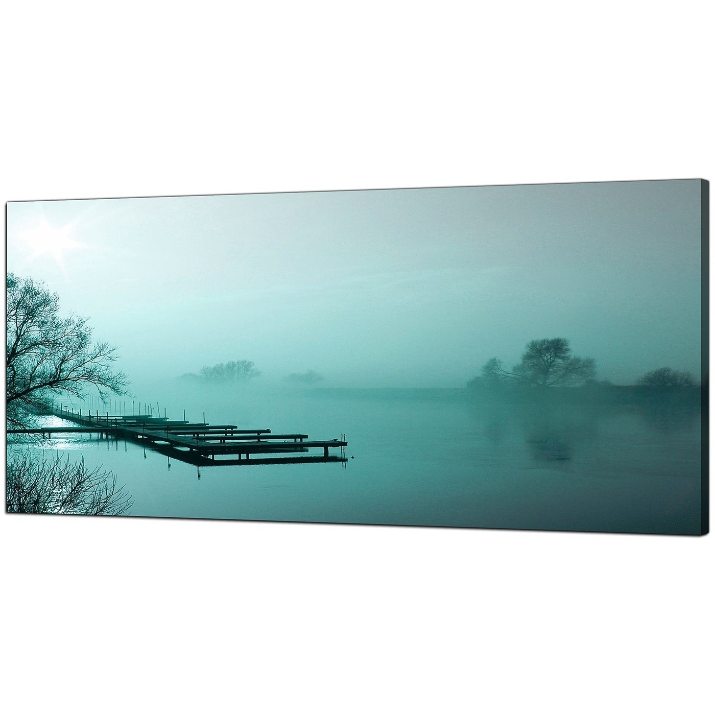 Teal Wall Art Uk For Well Known Large Teal Canvas Art Of A River Landscape (Gallery 5 of 15)