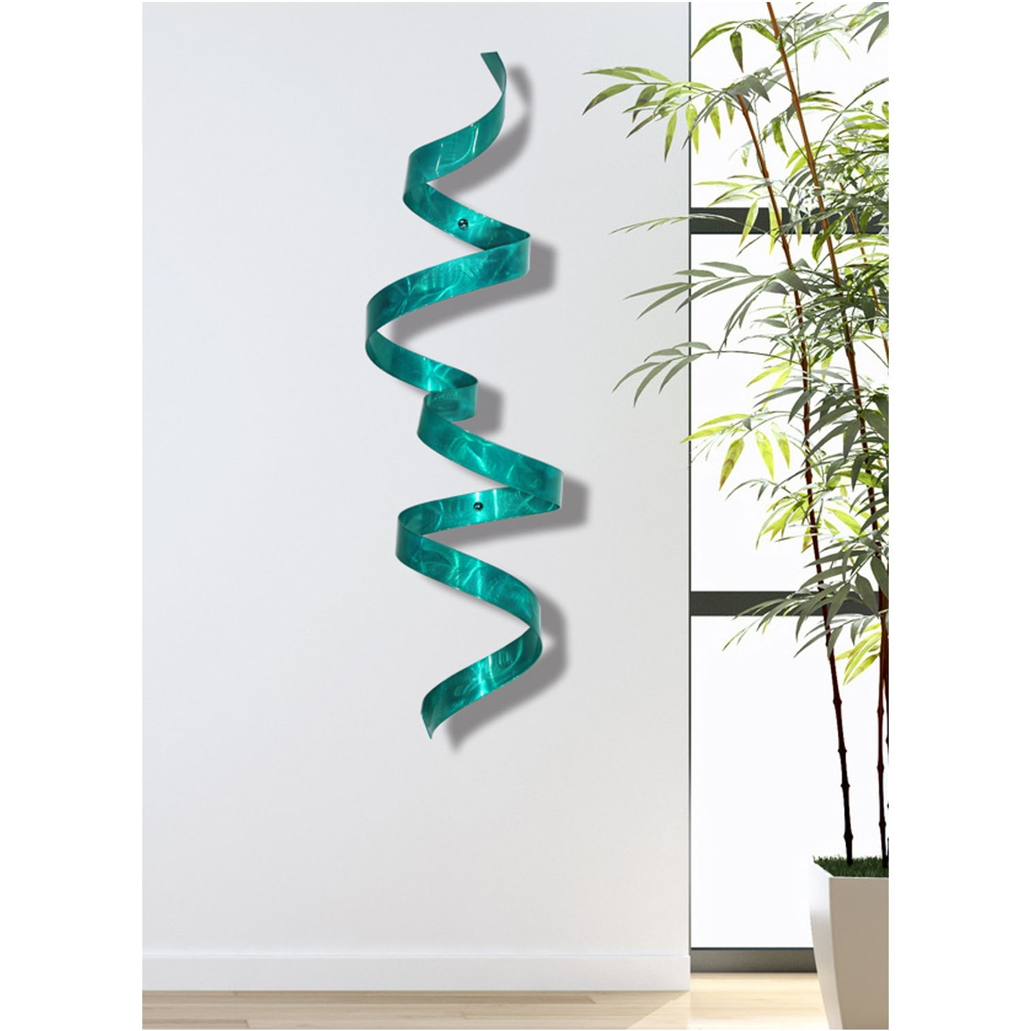 Teal Wall Twist – Blue 3D Abstract Twist Metal Wall Art Sculpture Inside Widely Used Teal Metal Wall Art (View 13 of 15)
