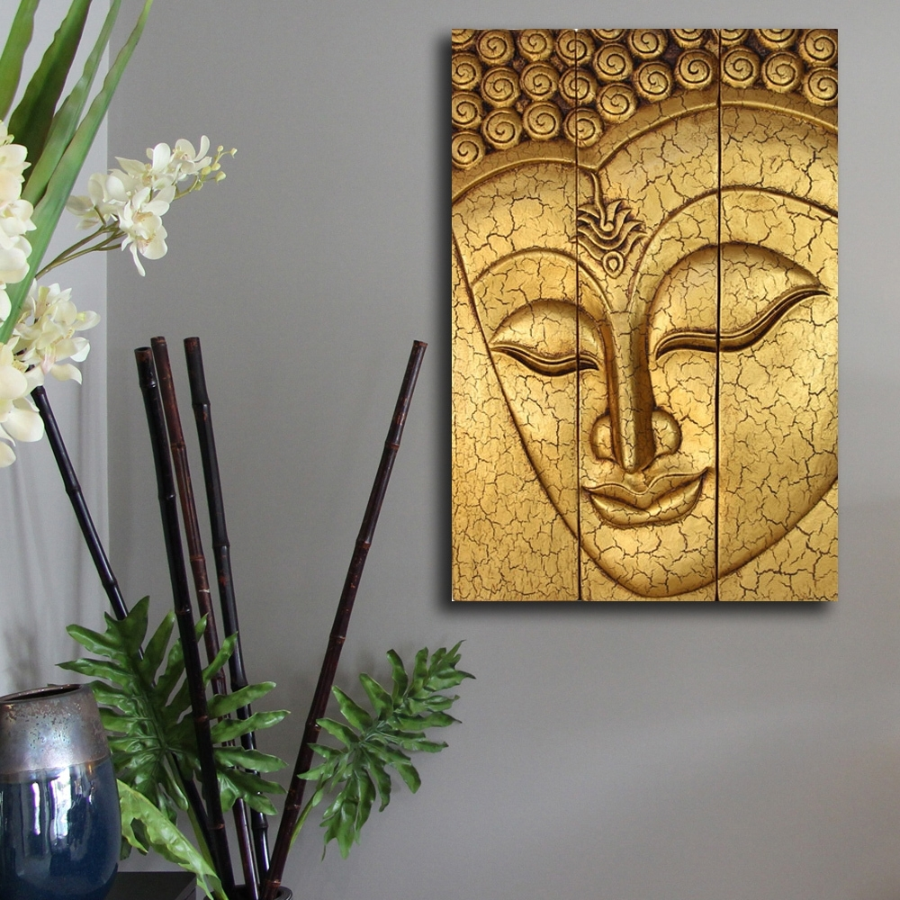 Thai Buddha Face Statue Large Hand Carved Wooden Wood Wall Art Intended For Favorite Buddha Wooden Wall Art (View 11 of 15)