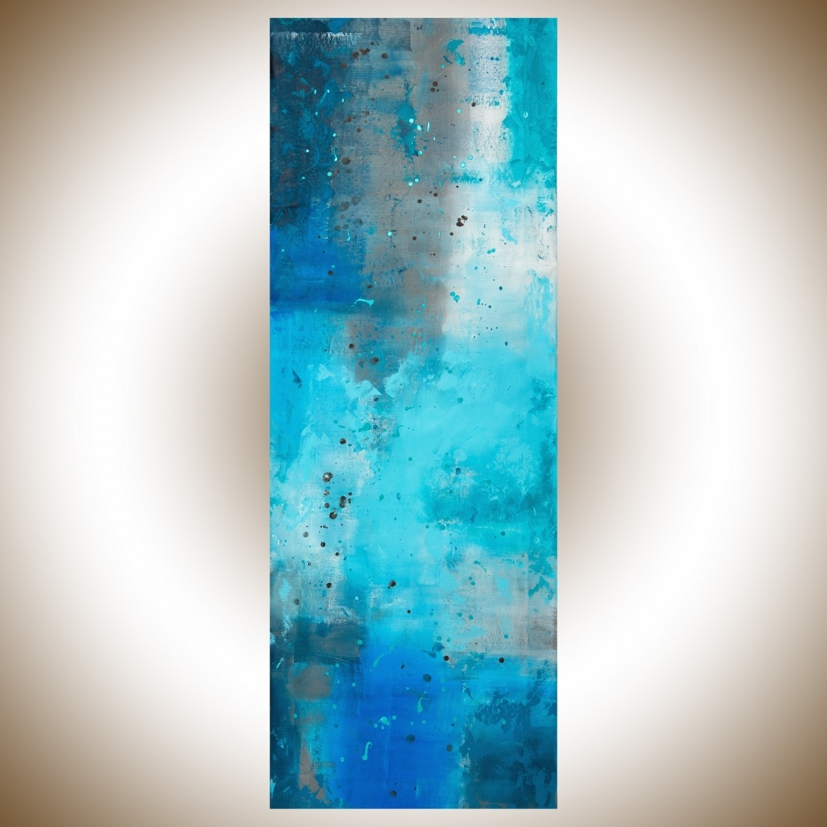 "The Mistqiqigallery 70""x24"" Un Stretched Canvas Original Pertaining To Recent Turquoise And Black Wall Art (View 7 of 15)"