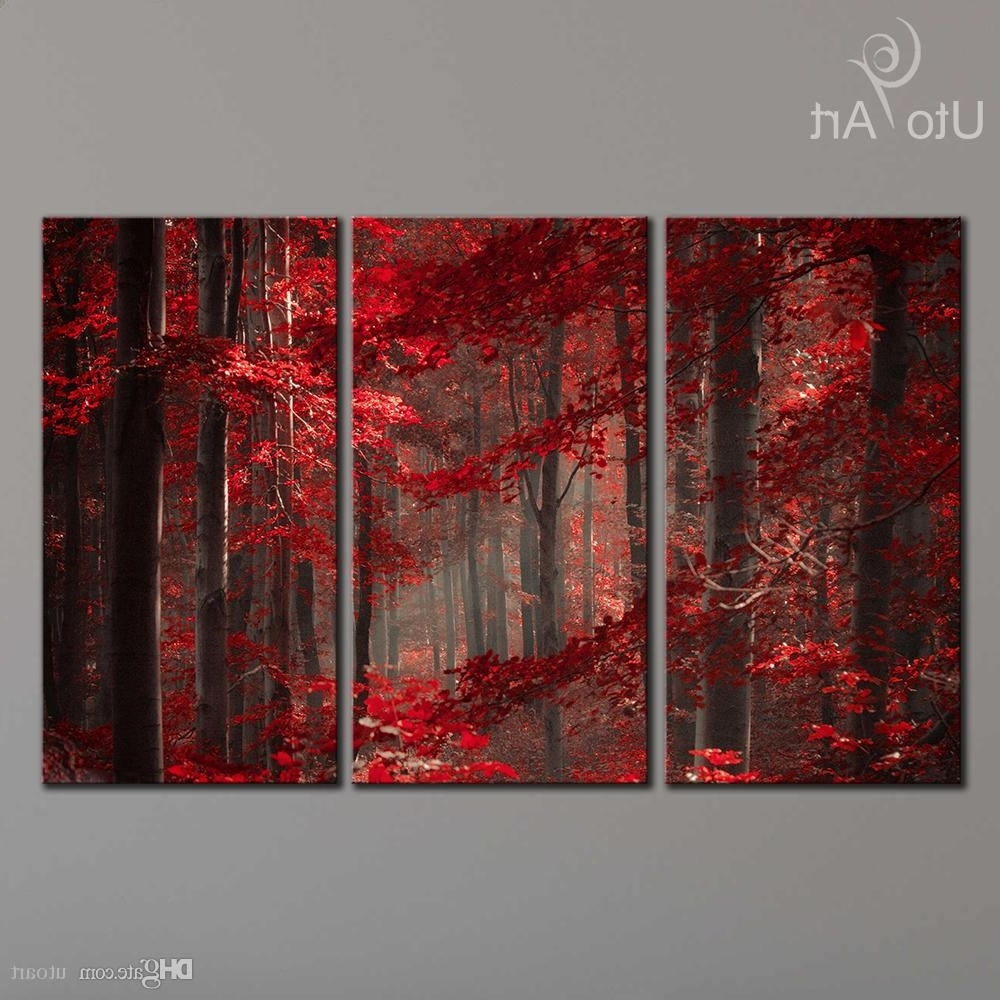 Three Panel Wall Art Pertaining To Popular 2018 Morden 3 Panel Wall Art Painting Red Enchanted Forest Giclee (View 2 of 15)