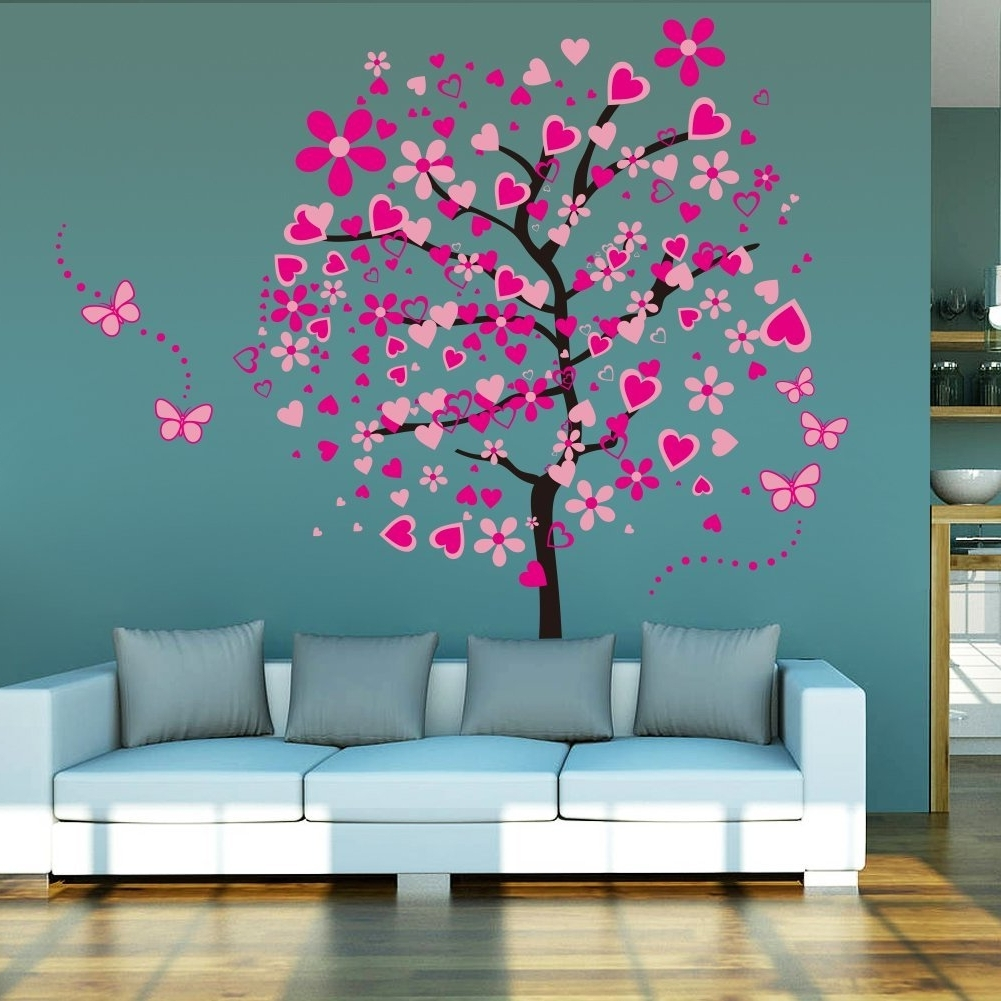 Tim Burton Wall Decals With Regard To Recent Amazon: Amaonm Cartoon Pink Heart Peach Tree Wall Decals (View 12 of 15)