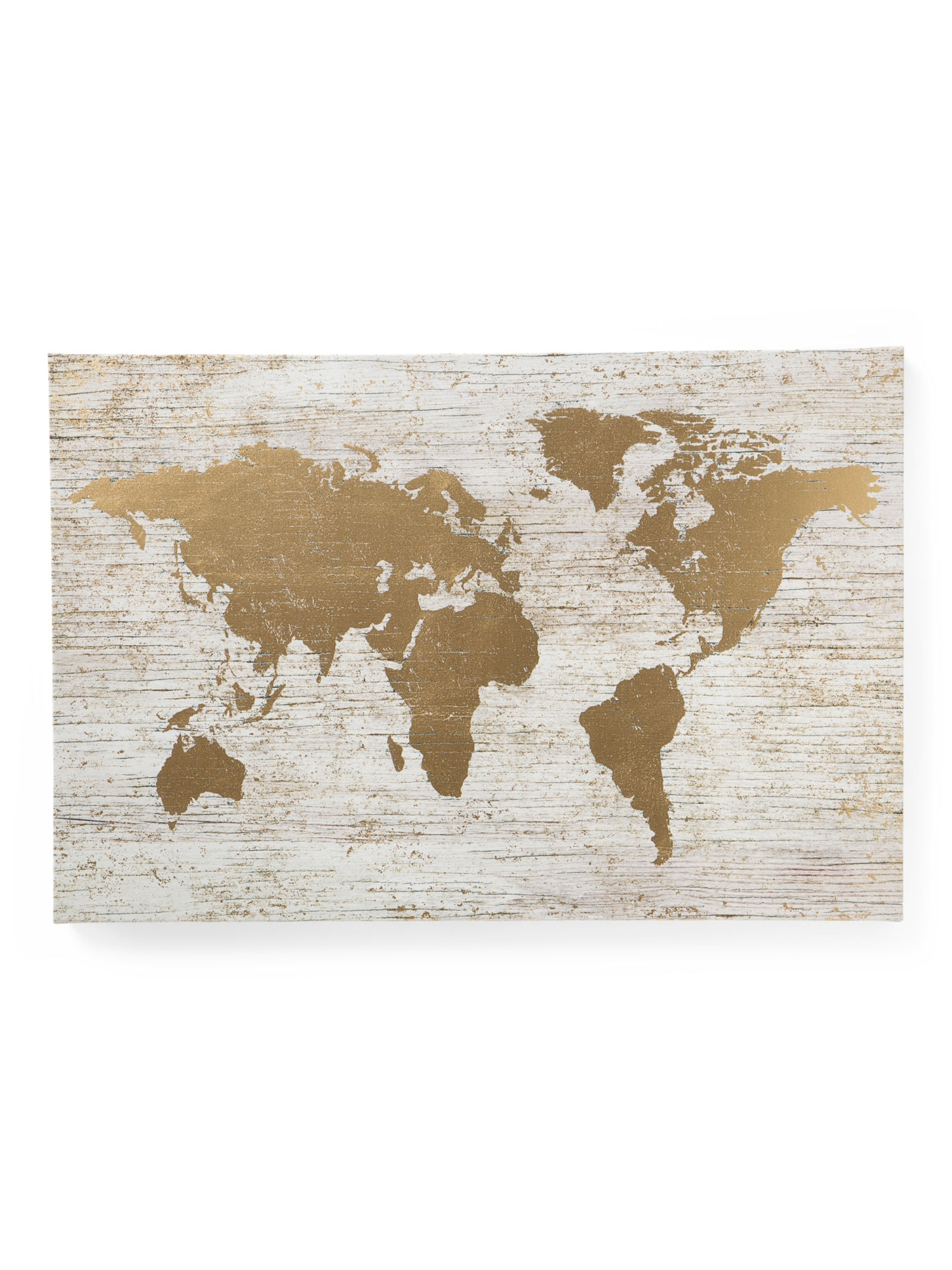 Tj Maxx Wall Art For Most Recently Released Large Gold Foil World Map On Canvas – Global Home – T.j (View 6 of 15)